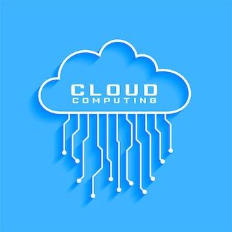 Concepto de computación en la nube con diseño de diagrama de circuito