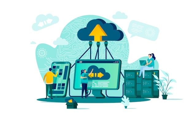 Concepto de computación en la nube en estilo con personajes de personas en situación