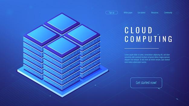 Concepto de computación en la nube de la granja del servidor isométrico.