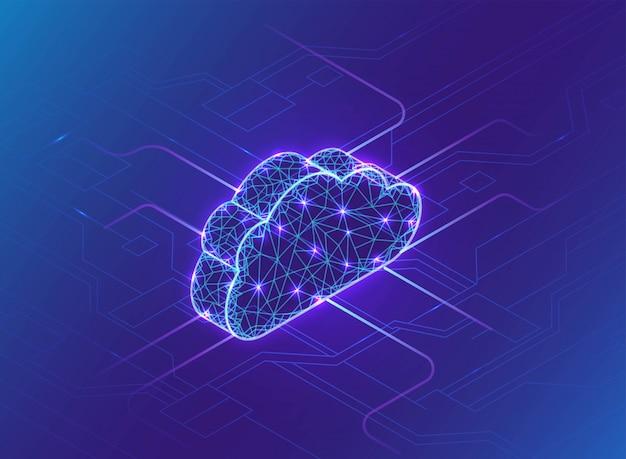 Concepto de computación en la nube, luz de neón, red de conexión