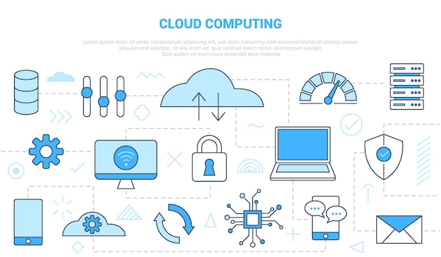 Concepto de computación en la nube con plantilla de conjunto de estilo de línea de icono con ilustración de vector de color azul moderno