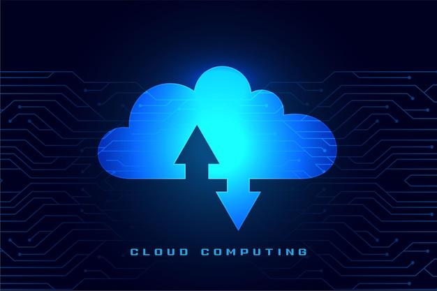 Concepto de computación en la nube con transmisión de datos de descarga y carga