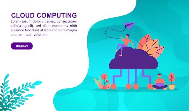 Concepto computacional de la ilustración de la nube con el carácter. plantilla de página de aterrizaje