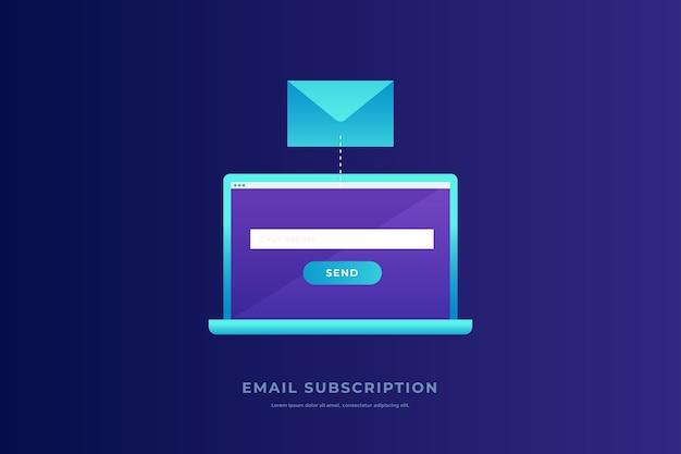 Concepto de comunicación, difusión de información, envío de correo electrónico. portátil con pantalla abierta, sobre postal sobre fondo azul. comunicación, difusión de información. ilustración.