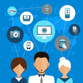 Concepto de comunicación del dispositivo móvil