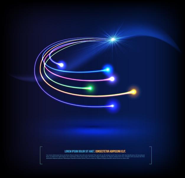 Concepto de comunicación de las fibras ópticas.