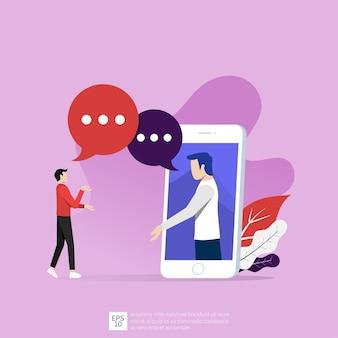 Concepto de comunicación online. hombres charlando a través de la ilustración de internet.