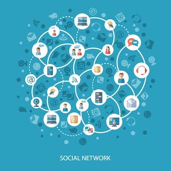 Concepto de comunicación en redes sociales.