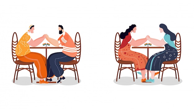 Concepto de comunidad lgbtq. parejas gays y lesbianas sentadas juntas