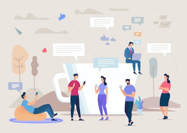 Concepto de comunidad de red social plana