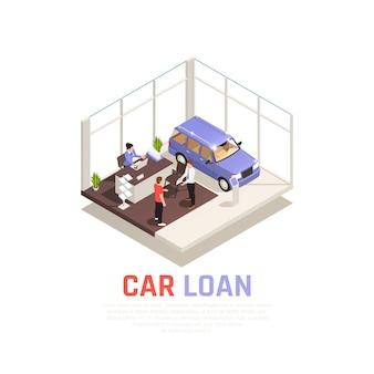 Concepto de concesionario de automóviles con símbolos de préstamos de automóviles isométricos