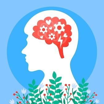 Concepto de conciencia de salud mental y flores.