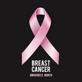 Concepto de concienciación sobre el cáncer de mama con texto y cinta rosa realista. ilustración