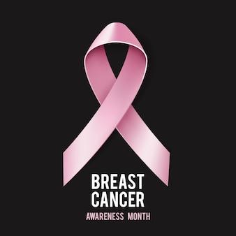 Concepto de concienciación sobre el cáncer de mama con texto y cinta rosa realista.