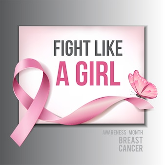 Concepto de concienciación sobre el cáncer de mama con texto fight like a girl y cinta rosa realista con mariposa rosa. ilustración