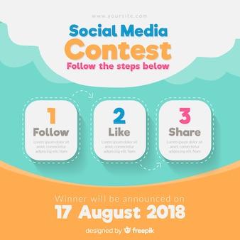 Concepto de concurso en redes sociales con diseño plano