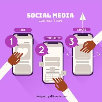 Concepto de concurso de redes sociales