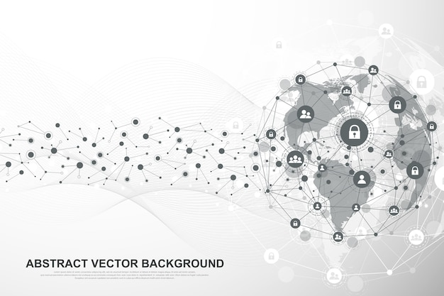 Concepto de conexión de datos y redes de estructura global.