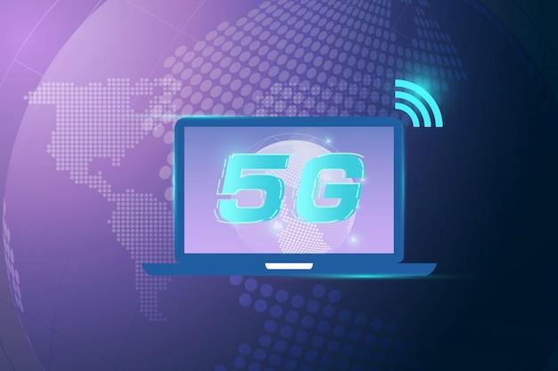 Concepto de conexión inalámbrica a internet 5g. tecnología de datos de innovación de red global de alta velocidad, ilustración vectorial