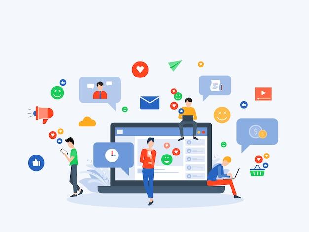 Concepto de conexión online a redes sociales y marketing digital.