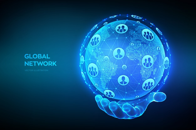 Concepto de conexión de red global. punto del mapa mundial y composición de línea. globo terráqueo en mano de estructura metálica.