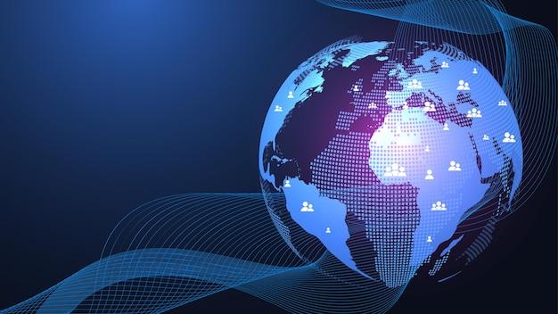 Concepto de conexión de red global. visualización de big data. comunicación de redes sociales en las redes informáticas mundiales. tecnología de internet. negocio. ciencias. ilustración vectorial