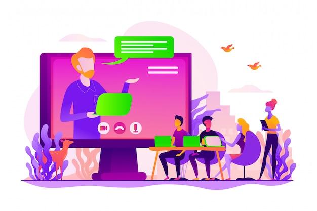 Concepto de conferencia en línea.