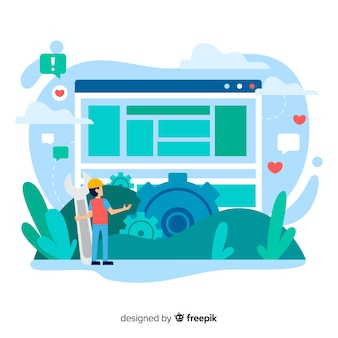 Concepto de configuración del sitio web para la página de destino
