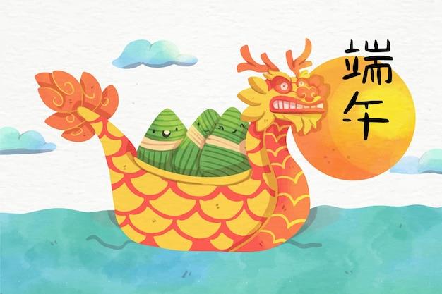 Concepto de conjunto de acuarela dragon boat