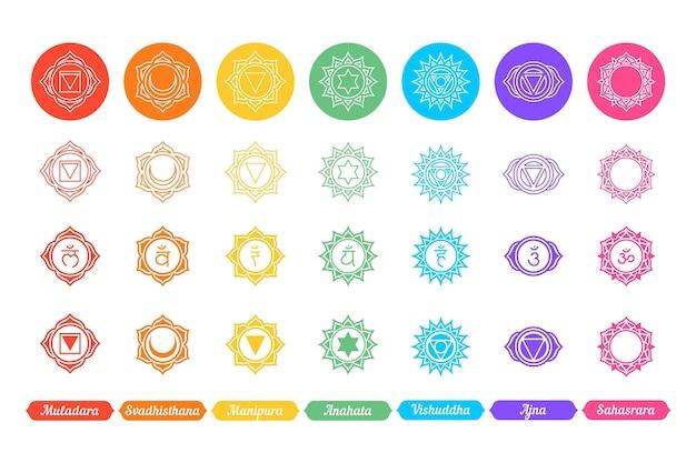 Concepto de conjunto de chakras coloridos