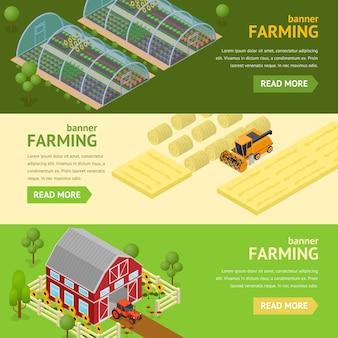 Concepto de conjunto horizontal de tarjeta de banner agrícola se puede utilizar para negocios de agricultura