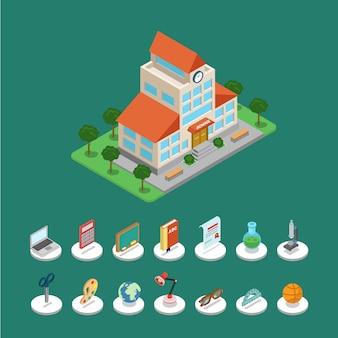 Concepto de conjunto de icono gráfico de información de bloque de edificio moderno de escuela creativa isométrica plana d