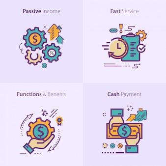 Concepto de conjunto de iconos de negocios y finanzas