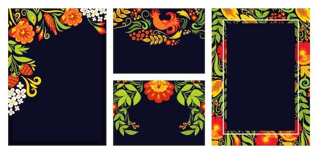 Concepto conjunto tres adornos tarjeta cartel estilo ruso khokhloma banner texto vacío lugar negro plano ve ...