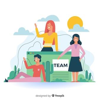 Concepto de conoce nuestro equipo para landing page