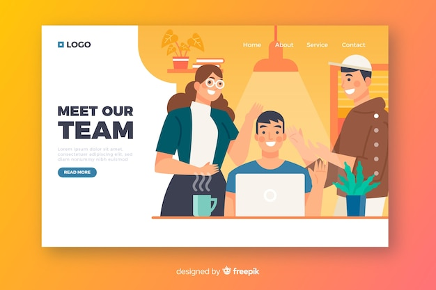 Concepto de conocer al equipo para landing page