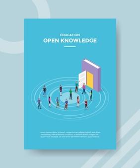 Concepto de conocimiento abierto para banner de plantilla y volante con estilo isométrico