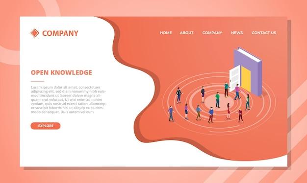 Concepto de conocimiento abierto para plantilla de sitio web o página de inicio de aterrizaje con estilo isométrico