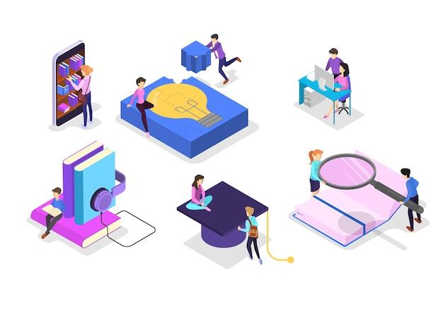 Concepto de conocimiento y educación. personas que aprenden en línea en la universidad. ciencia y lluvia de ideas. ilustración isométrica de vector aislado