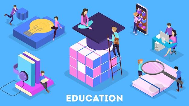 Concepto de conocimiento y educación. personas que aprenden en línea en la universidad. ciencia y lluvia de ideas. ilustración isométrica