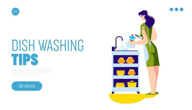 Concepto de consejos para lavar platos