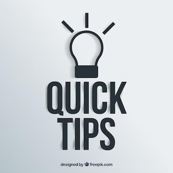Concepto de consejos rápidos con bombilla
