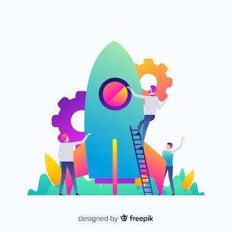 Concepto de construcción de cohete de estilo degradado