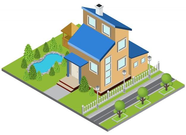 Concepto de construcción de suburbia con casa isométrica piscina isométrica