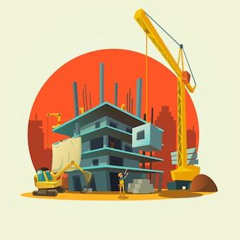 Concepto de construcción con trabajadores del concepto de estilo retro y máquinas de dibujos animados de la casa de construcción