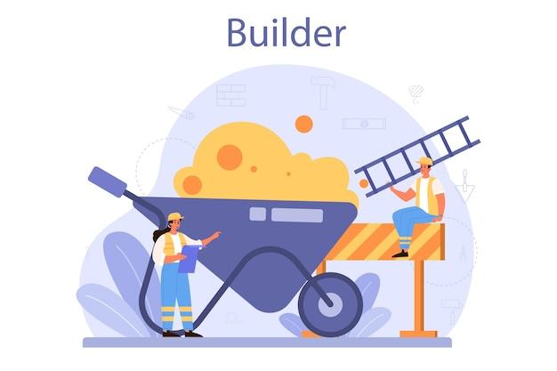 Concepto de constructor. trabajadores profesionales que construyen casa con herramientas y materiales.