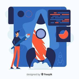 Concepto de construir cohete