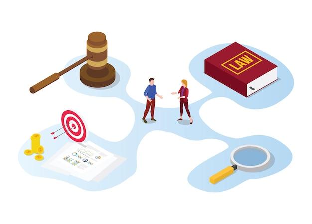 Concepto de consulta de asesoramiento legal con discusión de personas y libro con icono de martillo con ilustración de estilo isométrico moderno