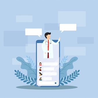 Concepto de consulta médica de internet.
