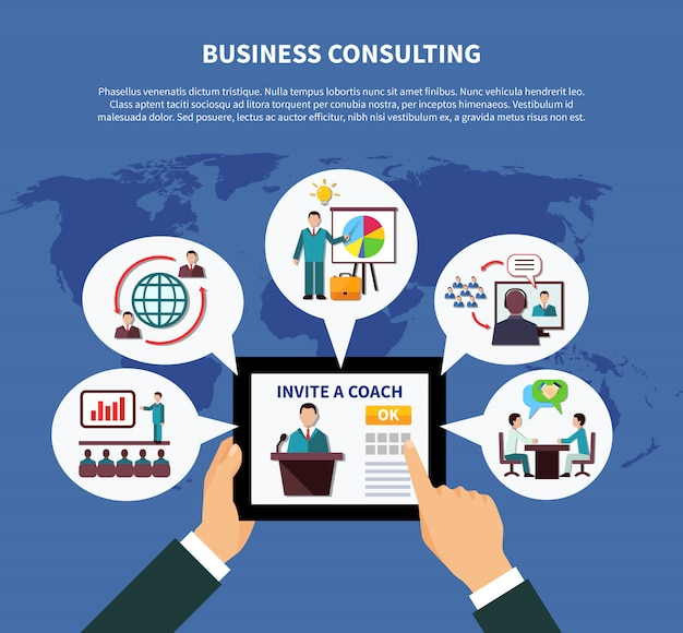 Concepto de consultoría comercial mundial